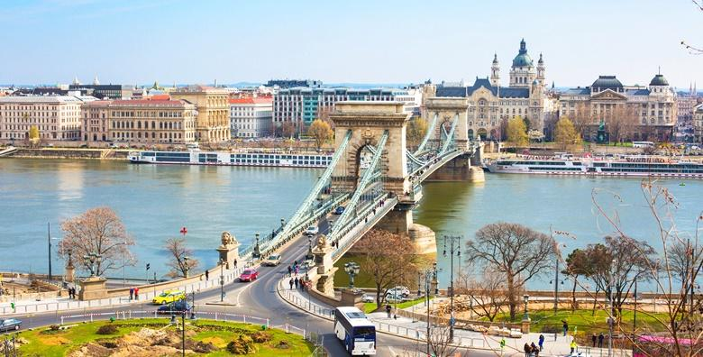Landmark of Budapest, Szechenyi Chain Bridge that spans the River Danube between Buda and Pest. Buildings at the banks of the river.